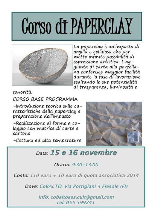 Corso Paper ClayFiesole 15 16 Novembre 14